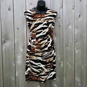 CALVIN KLEIN FITTED DRESS*SZ 2*BROWNS/OFFWHITE*